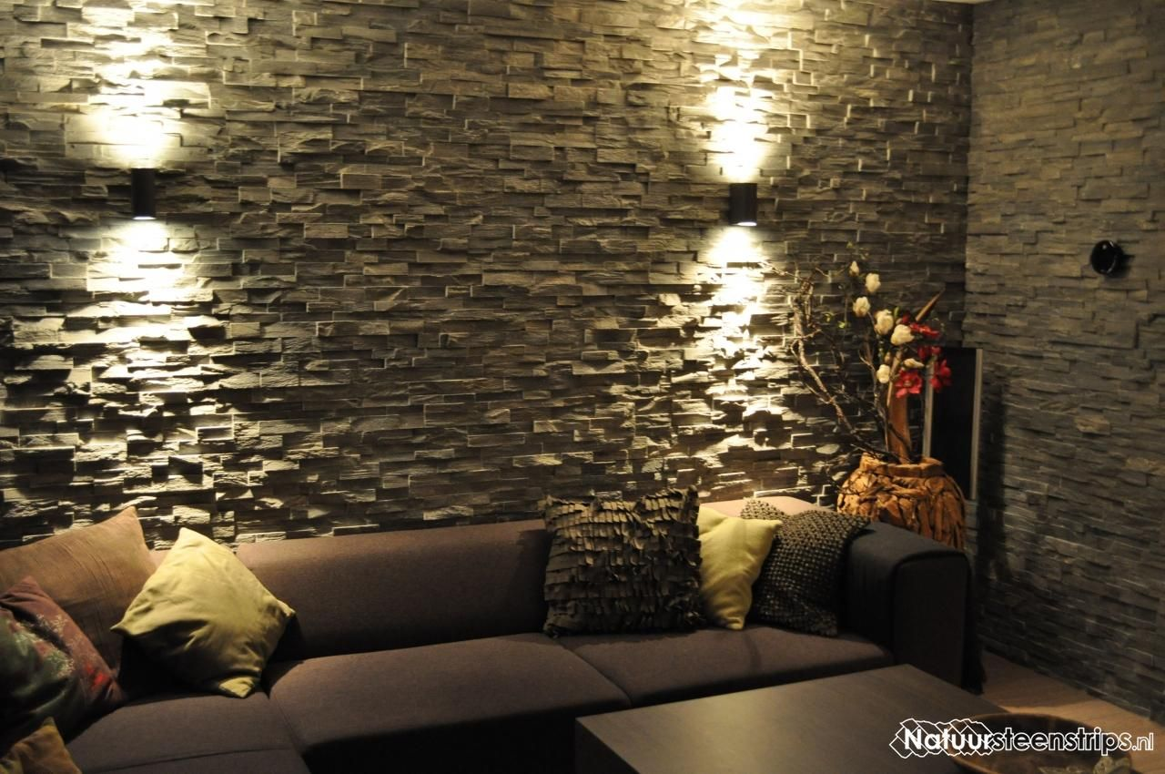 Grijs Kwartsiet Natuursteenstrips sfeervol toegepast in de woonkamer ...