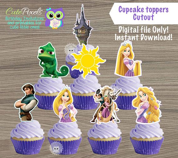 Tangled Cupcake Toppers Princess Rapunzel Birthday Topper Disney Decor Cutouts