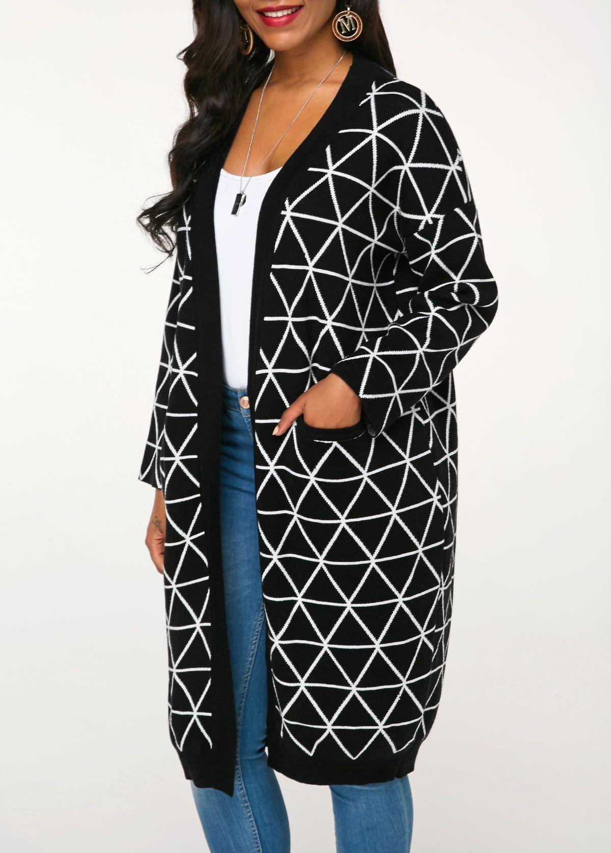 Long Sleeve Black Geometric Pattern Knitting Cardigan