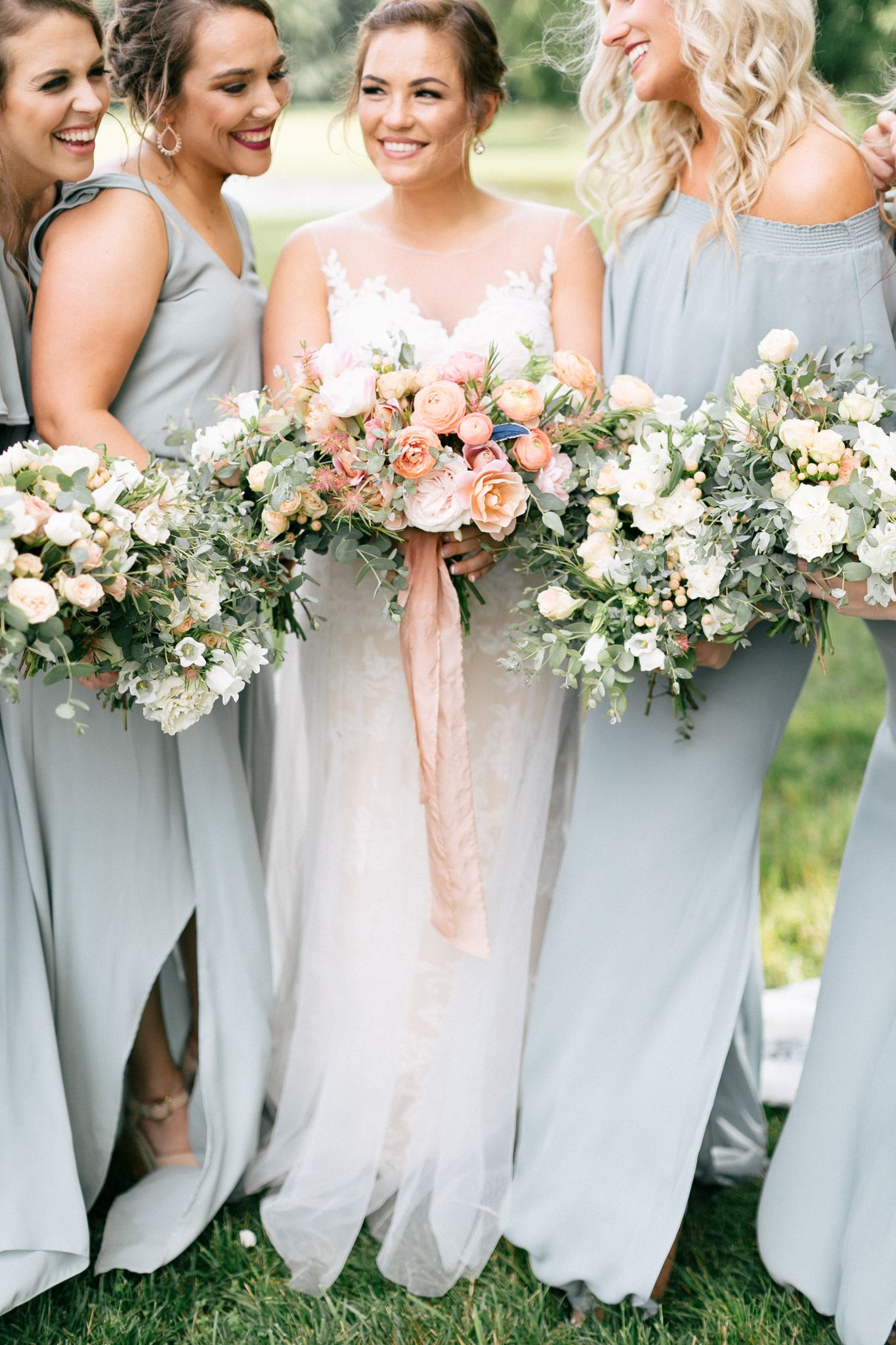 Gorgeous pale blue bridesmaid dress color these dresses are paired