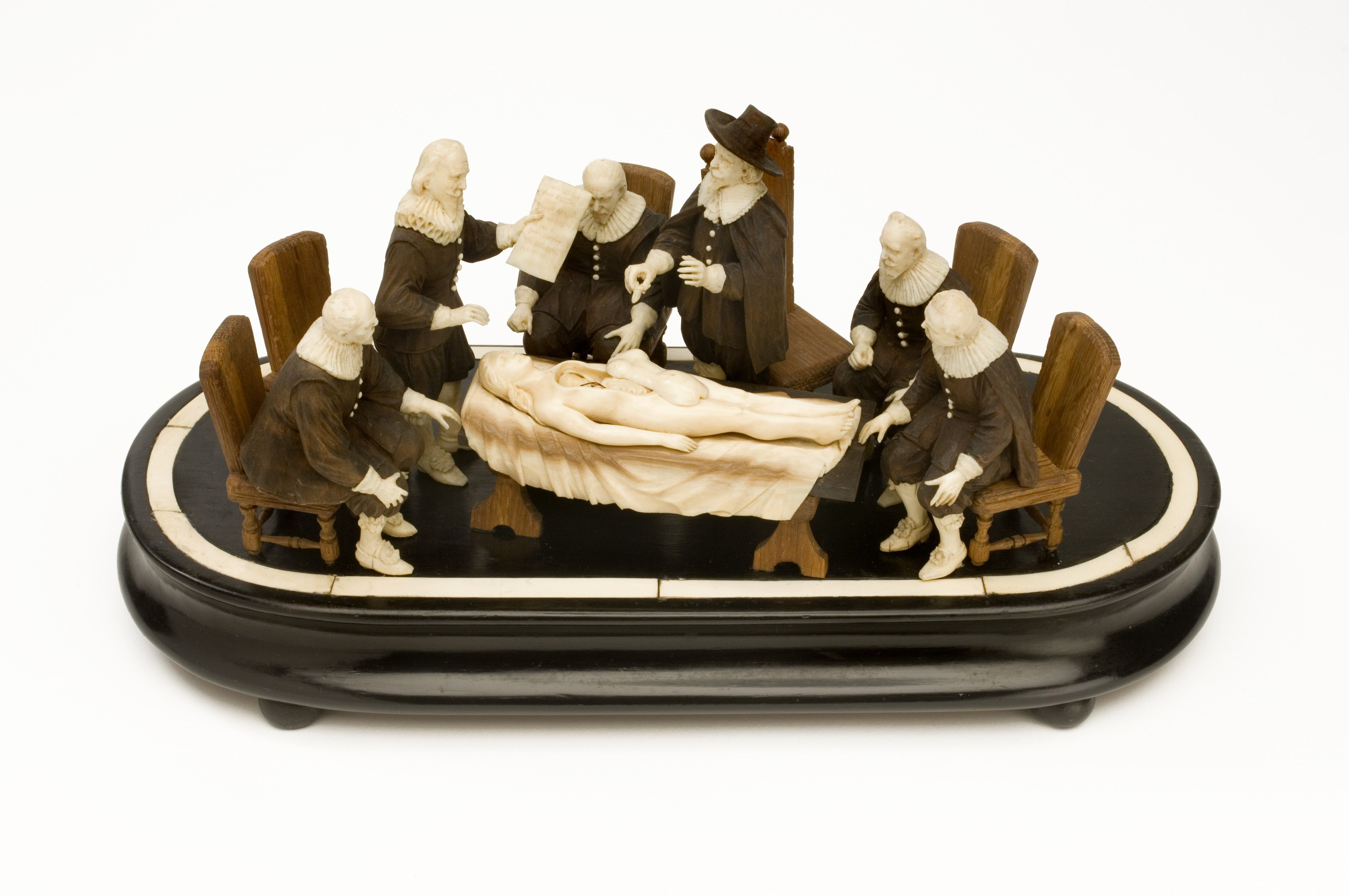 Wood and ivory model of an anatomical demonstration loosely based on ...
