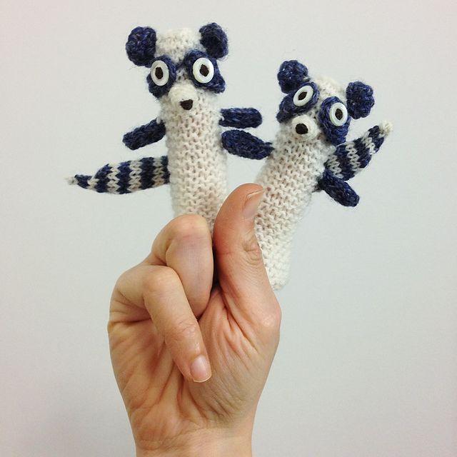 Ravelry animalz s raccoons finger puppet knitting