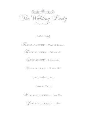 wedding party order