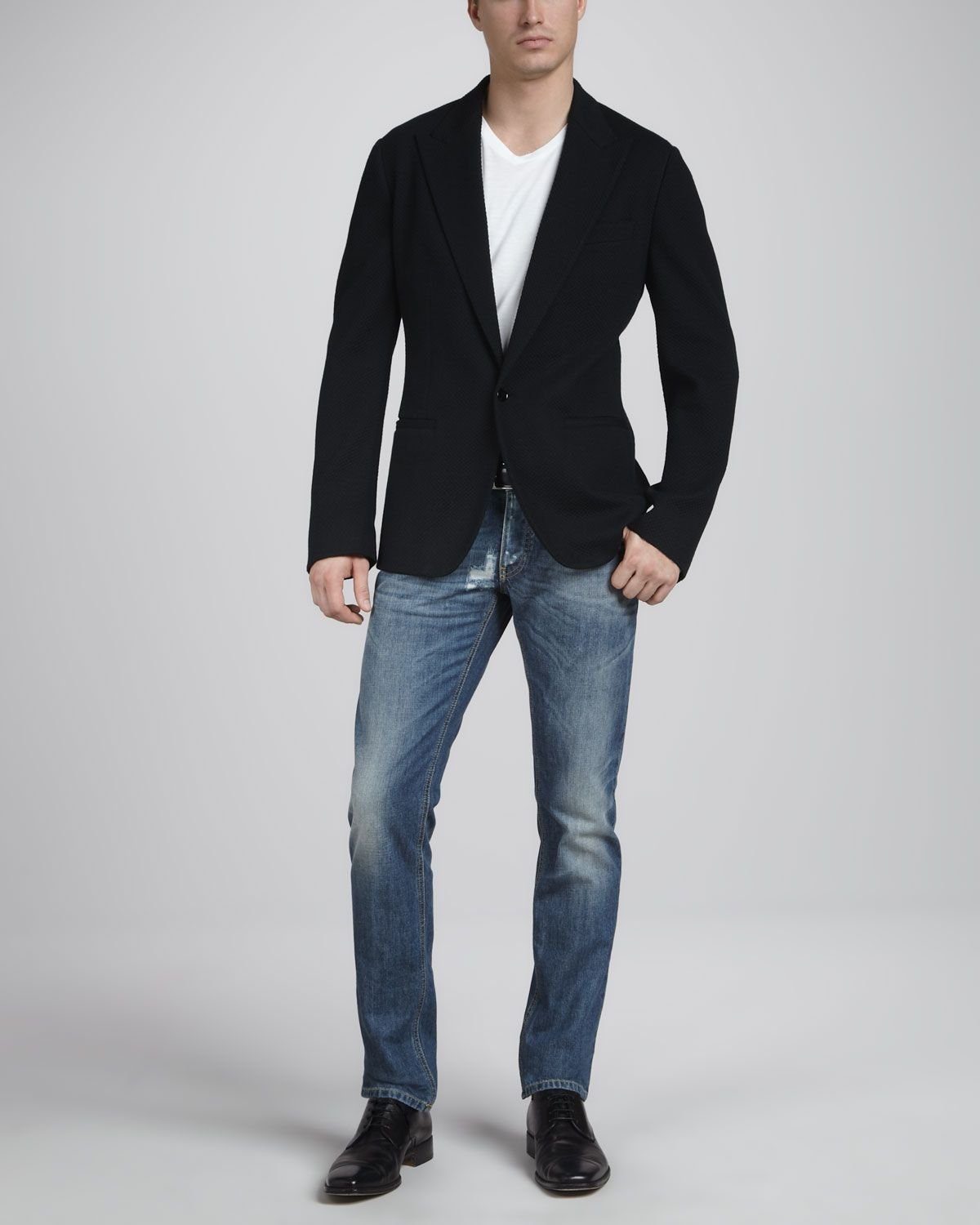 sports coats with jeans | Dolce Gabbana Textured Jersey Sport Coat Slim Distressed Jeans