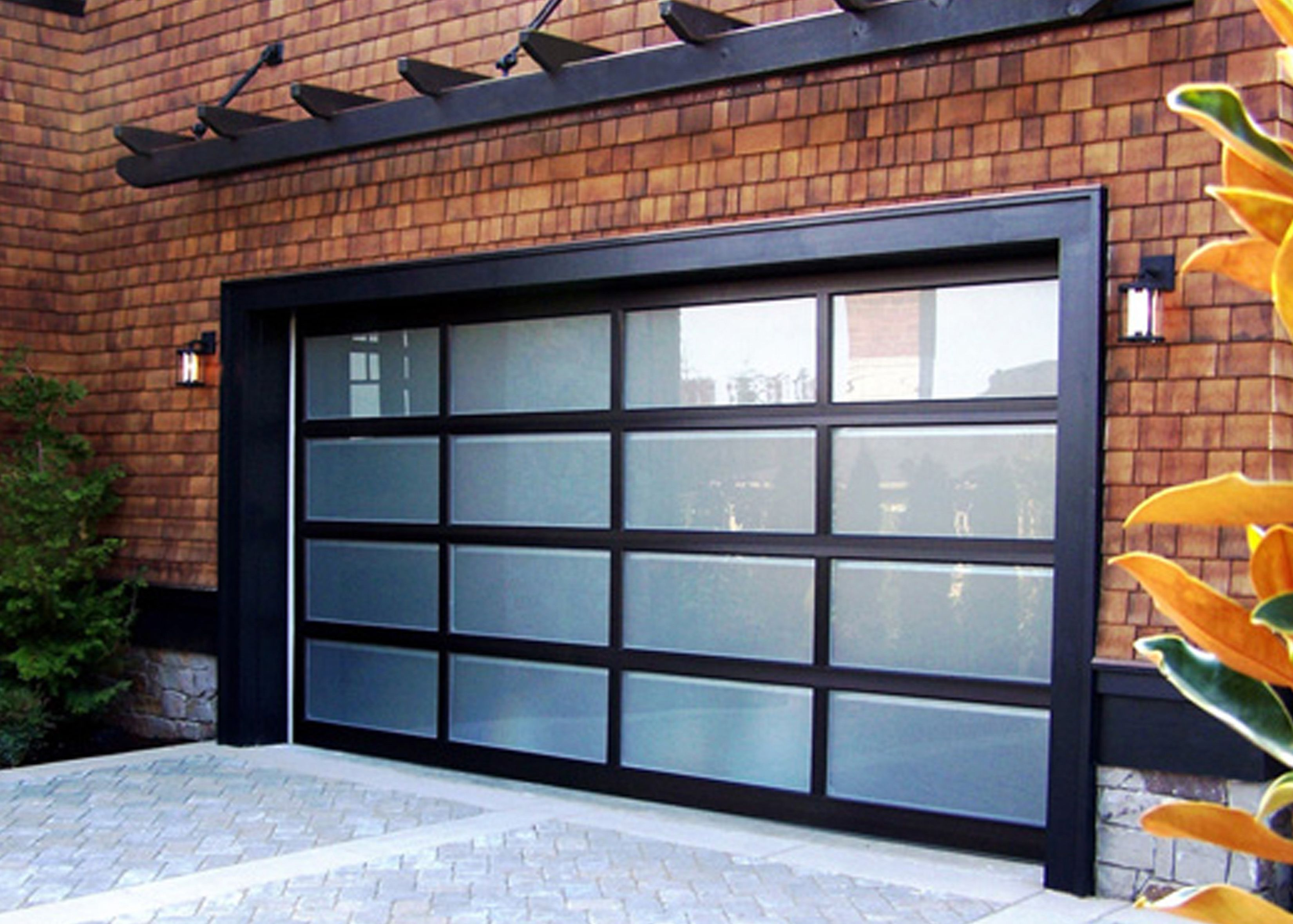 Door Minimalist Black Glass Garage With Man Doors For Brick Wall Home Wonderful Outdoor Living Space Garage Doors Garage Door Sizes Glass Garage Door