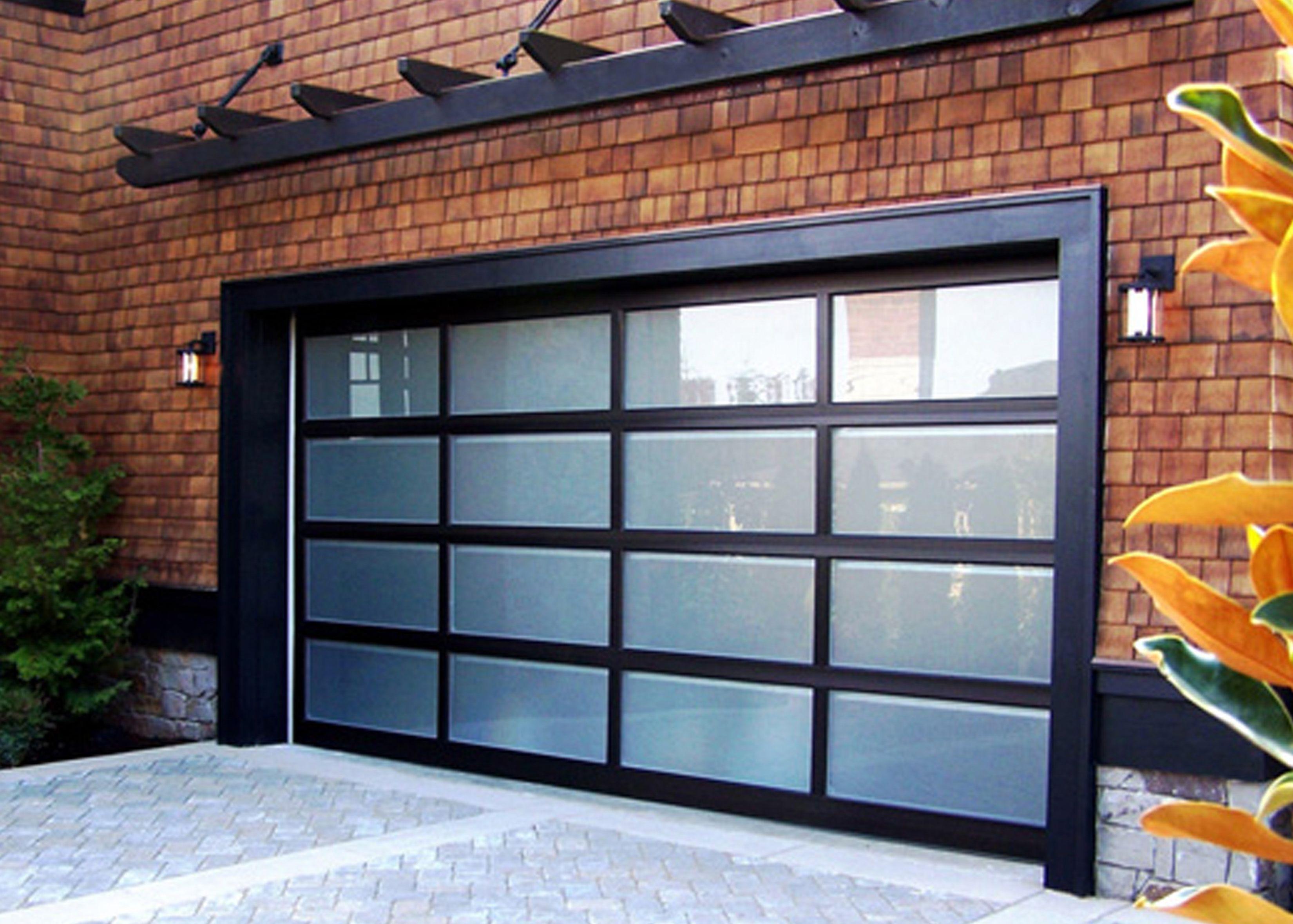 Door Minimalist Black Glass Garage With Man Doors For Brick Wall