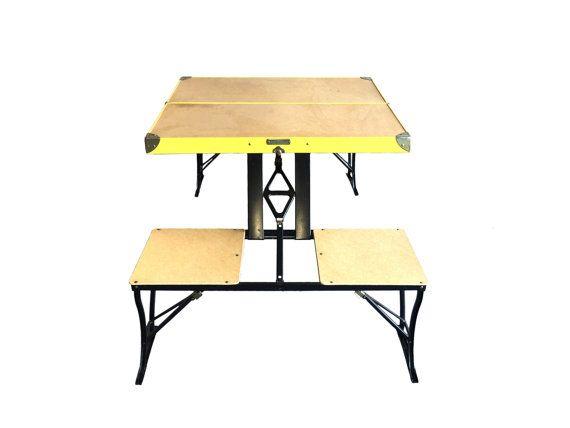 Nice Vintage Mid Century Fold Up Picnic Table Handy By HarpersFlea