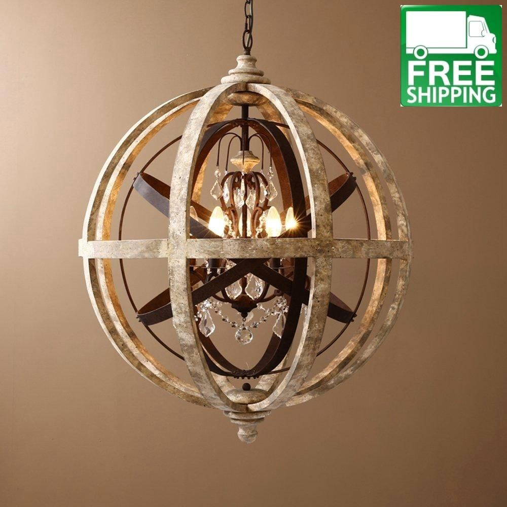 Weathered Wooden Mixed Metal Orb Crystal 5 Light Chandelier Orb