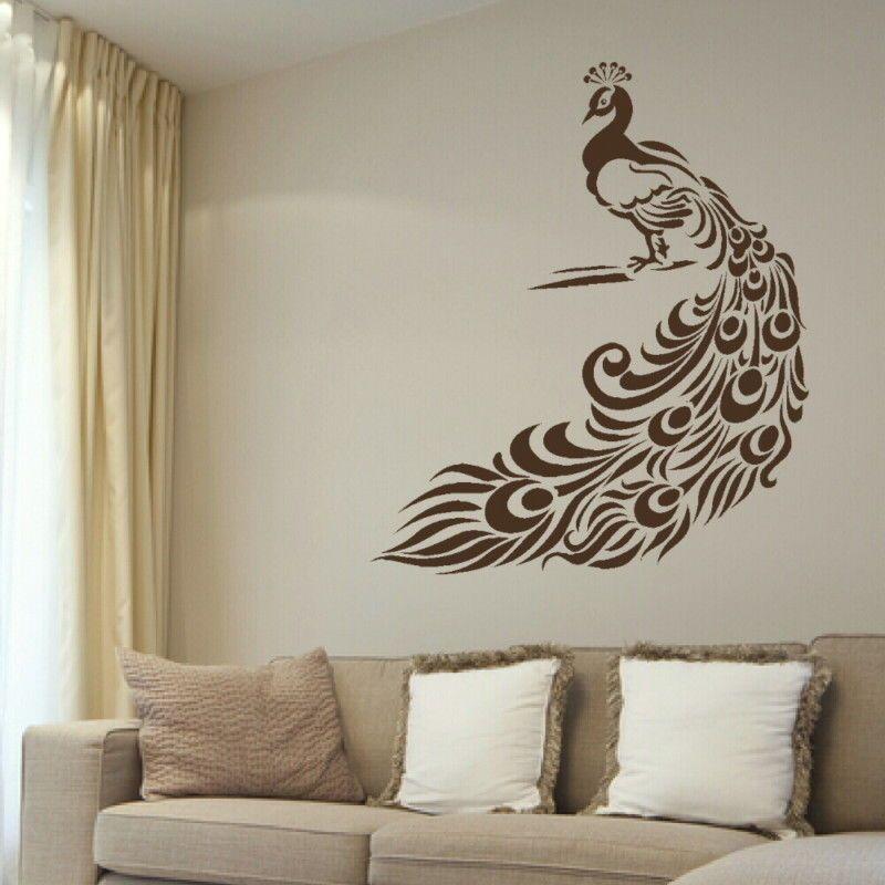 Large Peacock Bird Wall Art Sticker Large Vinyl Transfer Graphic Decal Decor bn5
