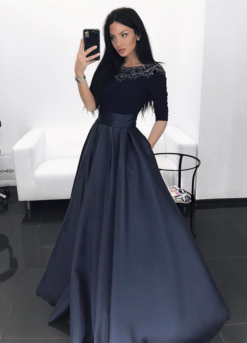 Aline bateau dark navy satin evening prom dress with beading in