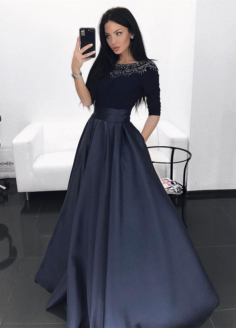 Aline bateau dark navy satin evening prom dress with beading in