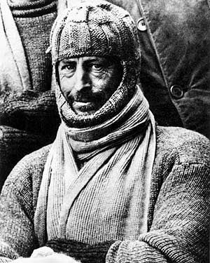Mawson kitted up in balaclava, proof against the Antarctic's biting cold