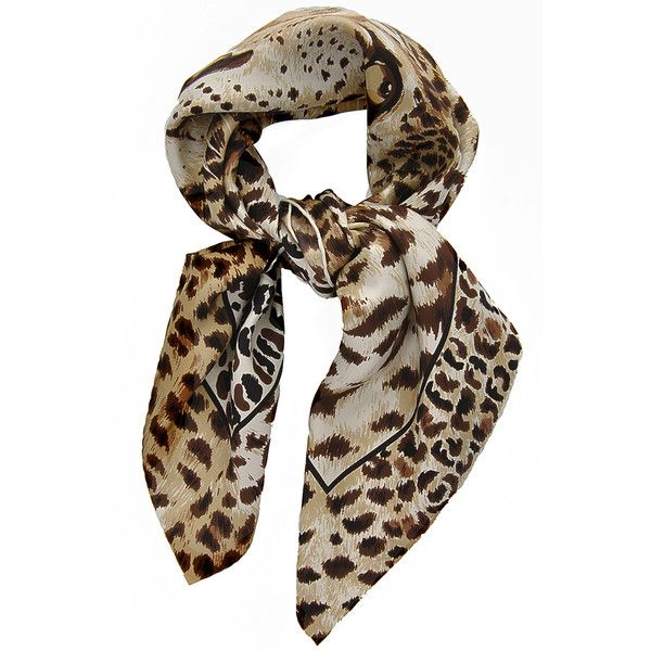 1694ad13f68a FENDI LEOPARD Silk Scarf ( 210) ❤ liked on Polyvore featuring accessories