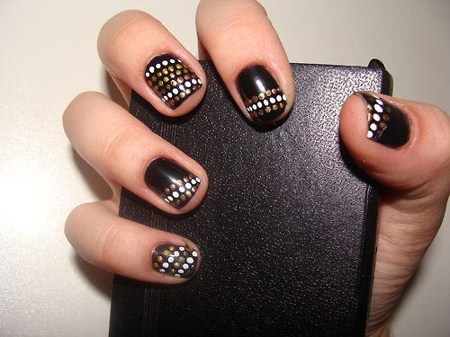 Splatters Dots in White and Gold Color of Dark Black Nail Design - Splatters Dots In White And Gold Color Of Dark Black Nail Design