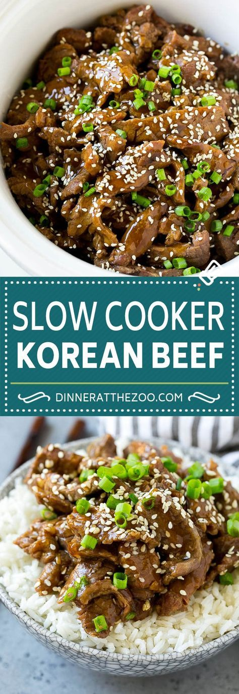 Slow Cooker Korean Beef Recipe   Korean Beef   Flank Steak Recipe #dinner #beef #slowcooker #crockpot #asian #dinneratthezoo #recipesforflanksteak