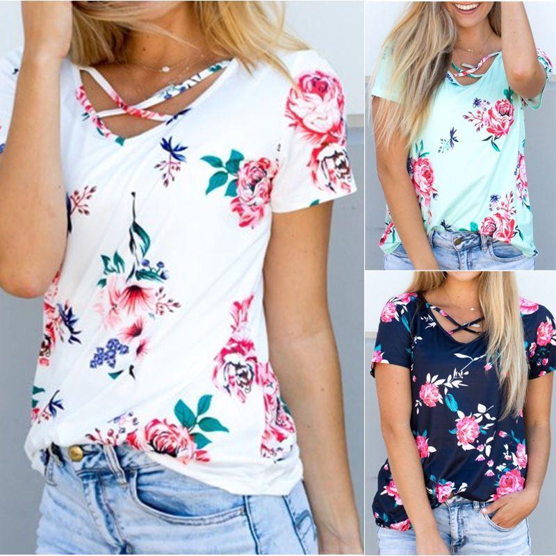 Women Summer Short Sleeve Floral Shirt Blouse Tops Loose T Shirt Casual Tee  TOP