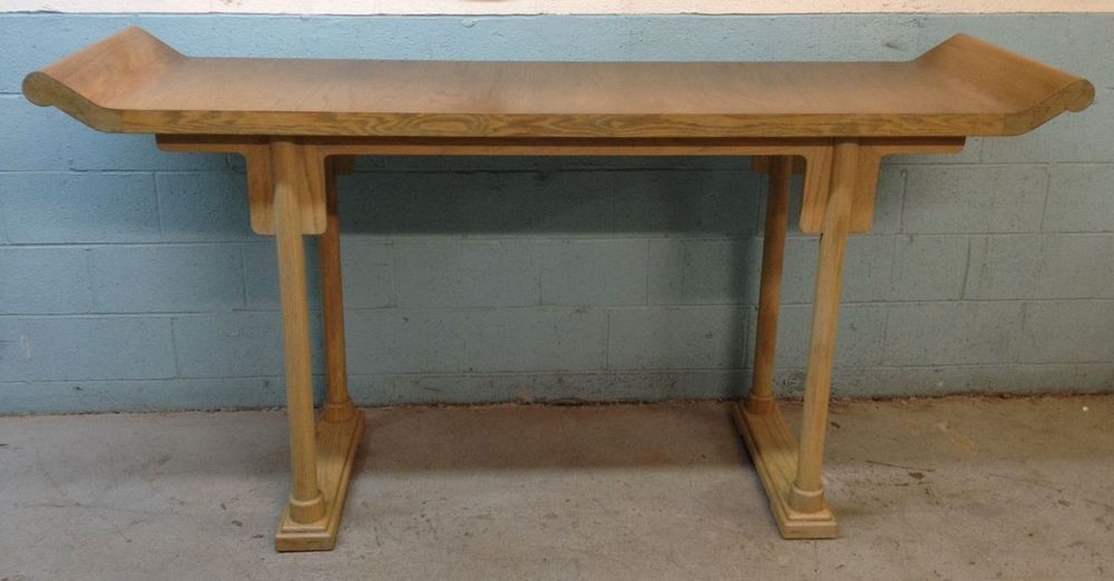 Asian Inspired Modern Cerused Oak Console Table Altar Table