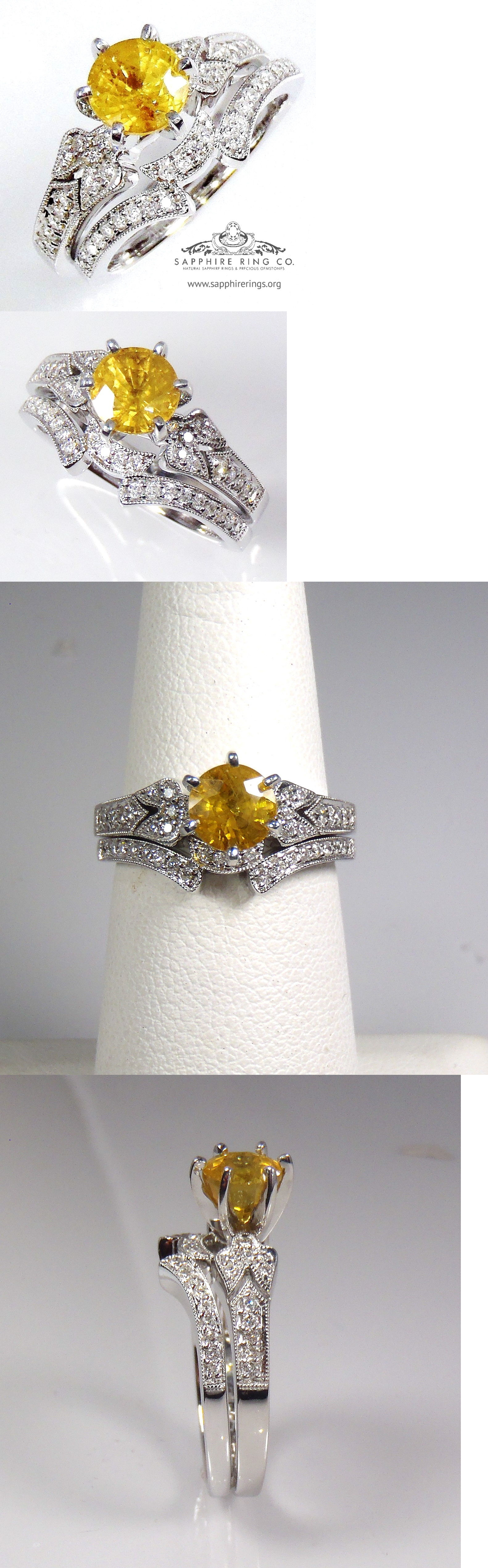 Other Engagement Rings 164308: Certified 18Kt White Gold 1.31 Tcw Yellow Round Cut Sapphire And Diamond Ring Set BUY IT NOW ONLY: $2995.0
