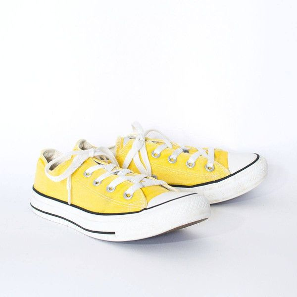 56f98955dcdfd1 Vintage 90 s Converse All Star Trainers Yellow Unisex UK 4 EU 36.5 ...