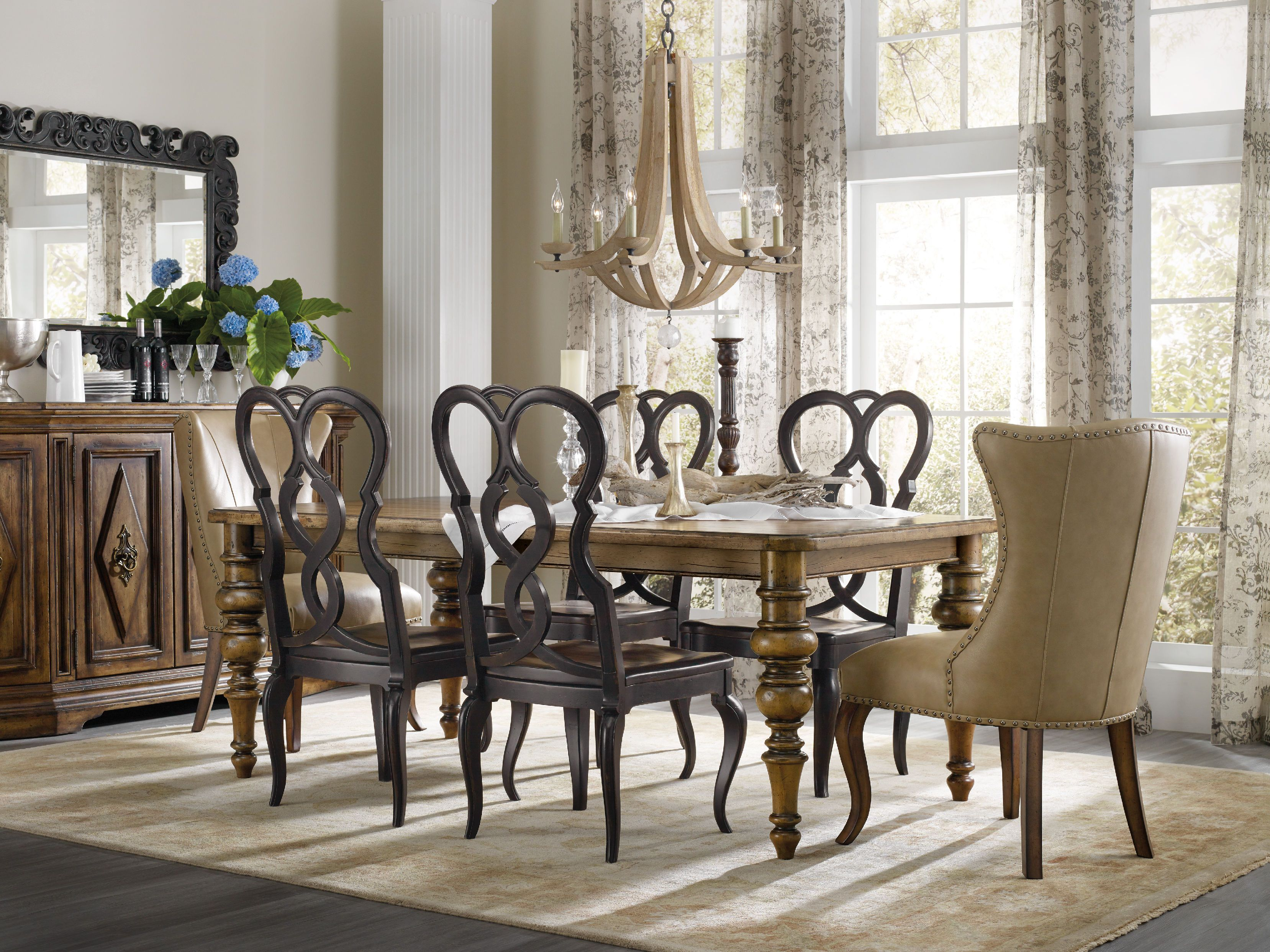Hooker Furniture Dining Room Auberose Rect Leg Table W 2 20in Leaves 1595 Baton Rouge