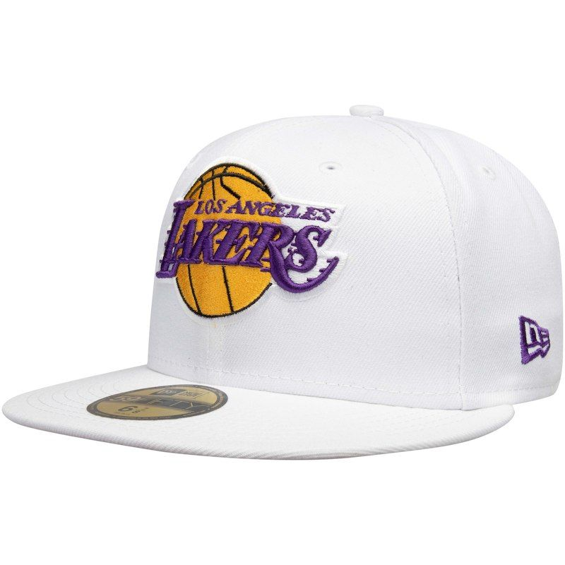 Mens New Era NBA LA Lakers White 9Fifty Adjustable Snapback Fit Baseball Cap