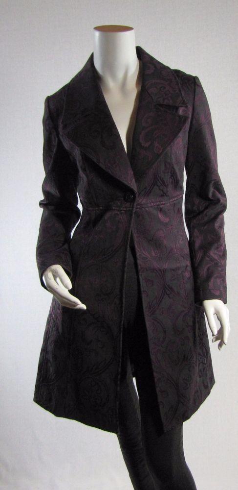 6eb92498c36f5 Bisou Bisou XS Jacket Purple Black Brocade Floral Steampunk Coat Extra  Small #BisouBisou #BasicCoat