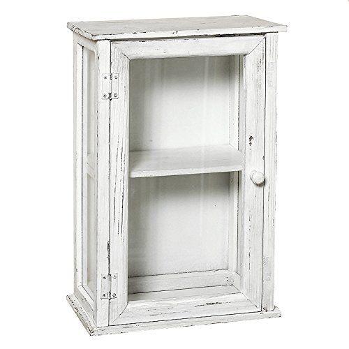 Büroschrank weiß antik  Wandschrank IDA weiß shabby chic Schrank Hängeschrank antik Holz ...