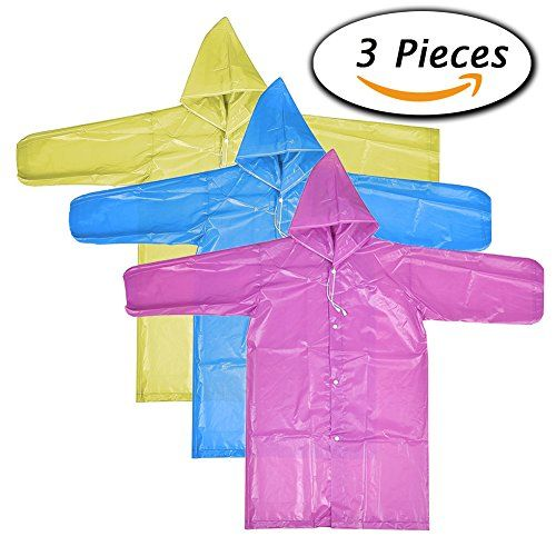 Paxcoo 3 Pcs Portable Raincoat Rain Poncho With Hood And Sleeves In Different Colors Visit Blue Raincoat Universal Studios Orlando Fl