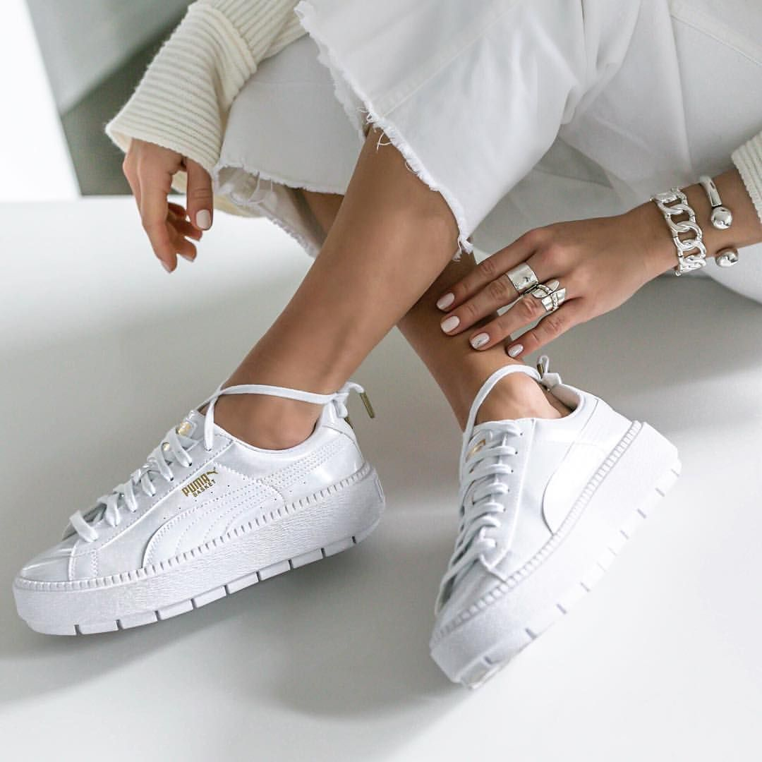 sale retailer a751f 1bd13 Say it WHITE with the new @puma Basket Platform Trace Patent ...