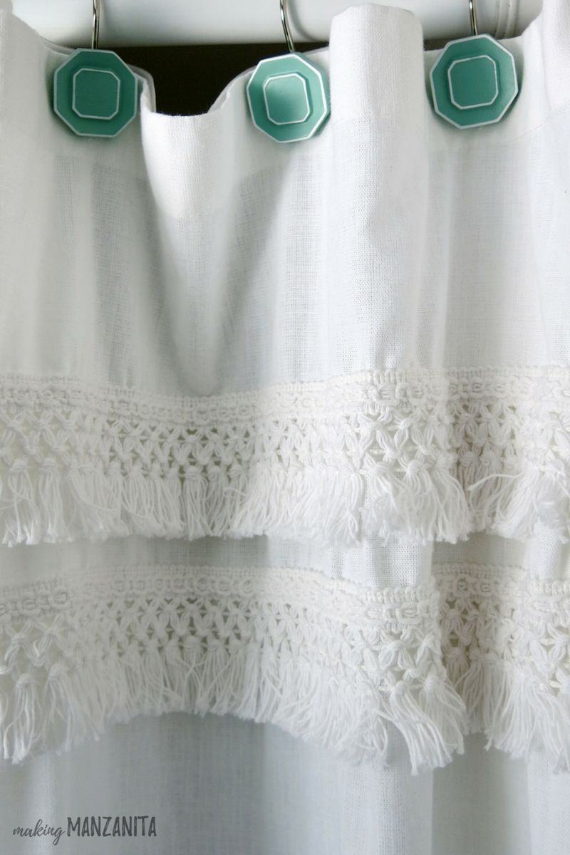 White Macrame Shower Curtain