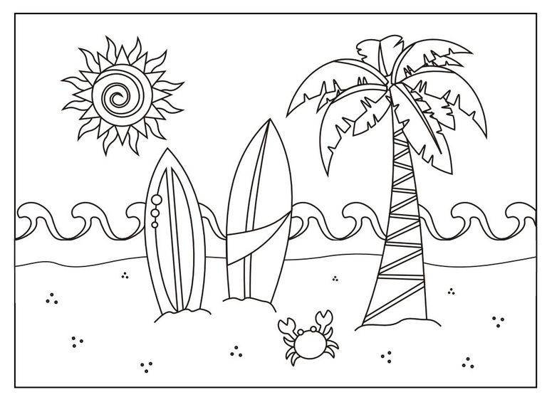 A Beach Scene Coloring Page Summer Coloring Pages Summer Coloring Sheets Beach Coloring Pages