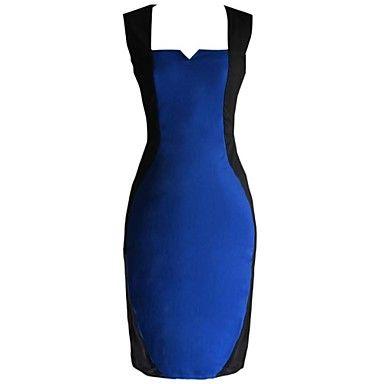 Mujeres MingFan Costura V cuello del color del contraste de Bodycon Lápiz Midi Vestido – USD $ 14.99
