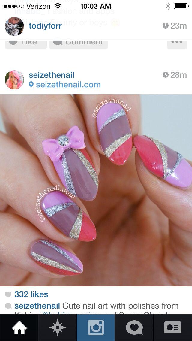 Glittery color block nails