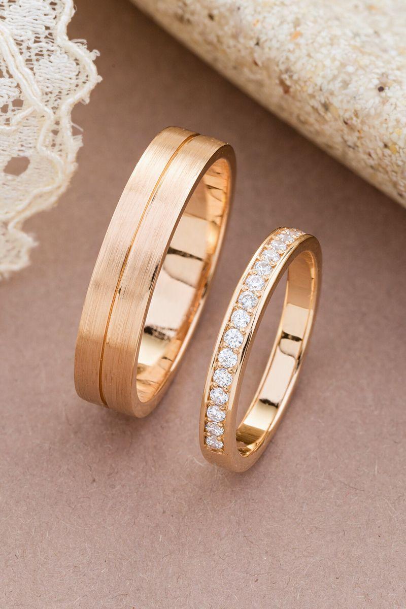 Rose Gold Wedding Rings With Diamonds Wedding Rings Set Made Etsy Wedding Ring Sets Wedding Rings Sets His And Hers Wedding Rings Rose Gold