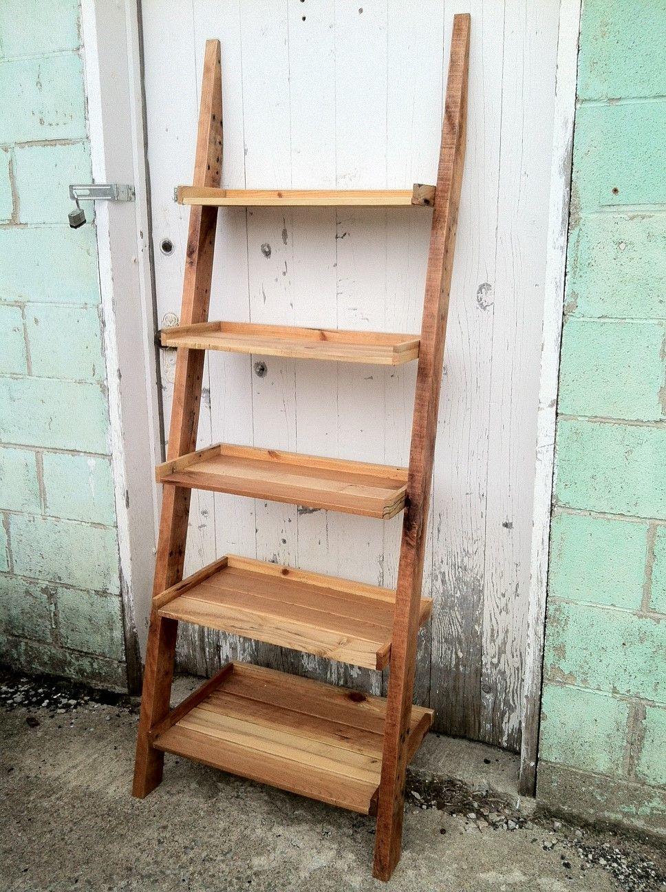 Pallet wood ladder shelf great reclaimed wood book shelf - Reclaimed wood ladder shelf ...