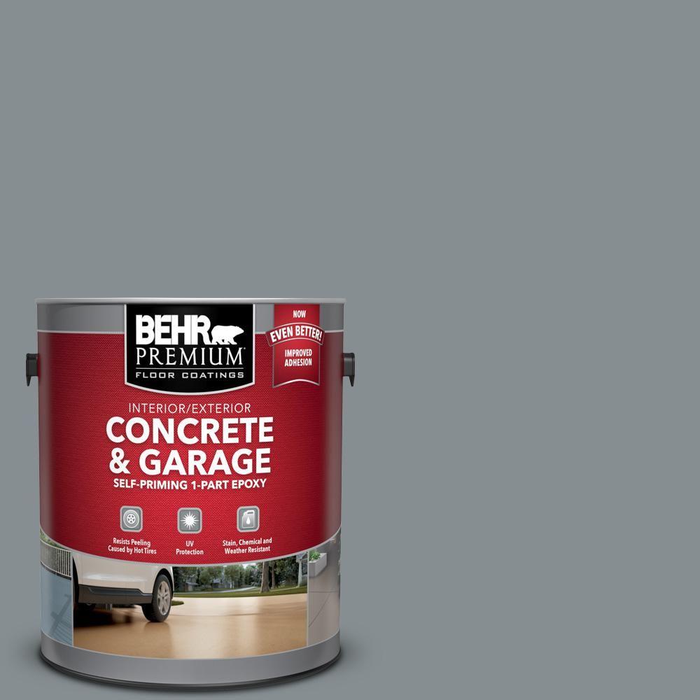 Behr Premium 1 Gal Pfc 47 Raw Steel Self Priming 1 Part Epoxy Satin Interior Exterior Concrete And Garage Floor Paint 90001 Products In 2019 Garage Floor Paint Painted Floors Concrete Garages