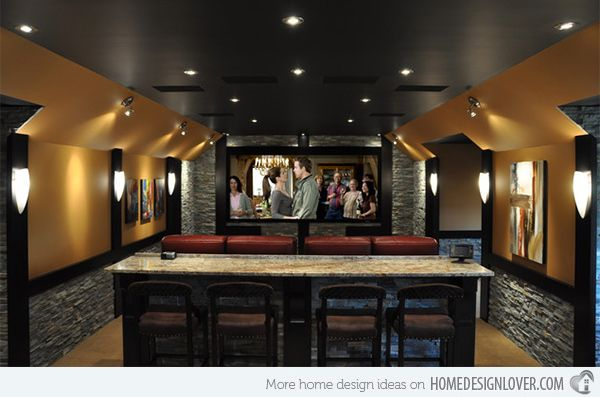 15 Interesting Media Rooms And Theaters With Bars Home Design Lover Home Theater Room Design Home Theater Rooms Modern Media Room Design