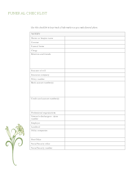 Funeral Planning Checklist  My End My Way    Funeral
