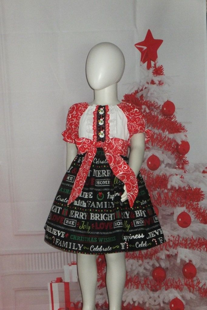 5596a03ced71 Christmas Dress Boutique Peasant Holiday Wishes Word Black White Red Lace  Baby 6 12 18 24 month Toddler Girl 2T 3T 4 5T Handmade Sleeve Sash by ...