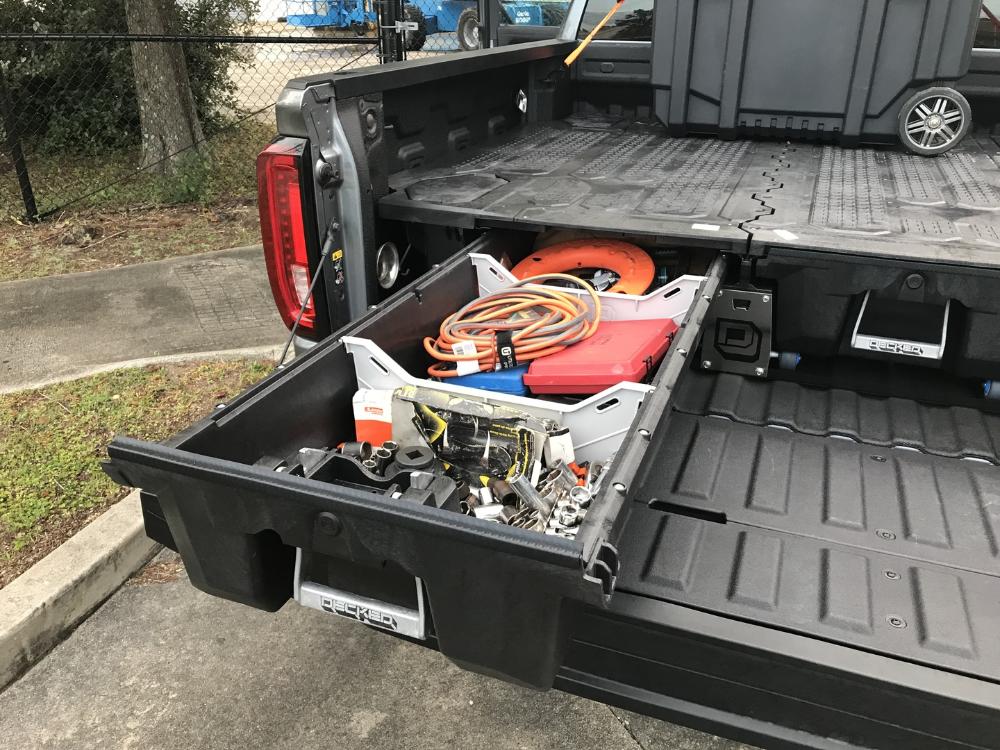 GMC Sierra 1500 Truck bed storage, Decked truck bed, Car
