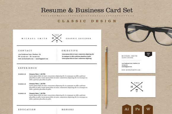 Classic Resume & Business Card Pack | Business cards, Template and ...