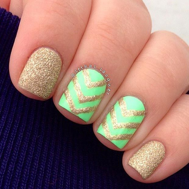 Neon Green and Gold Nail Design for Short Nails - 80 Nail Designs For Short Nails Gold Nail, Short Nails And Neon Green