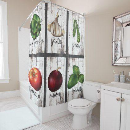Vegetables Herbs Rustic Modern Farmhouse Shower Curtain