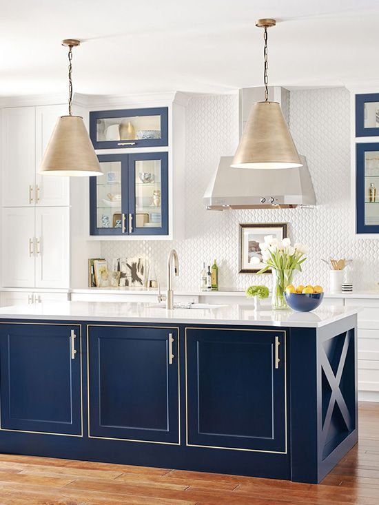 We love the navy blue cabinets in this dream kitchen ...