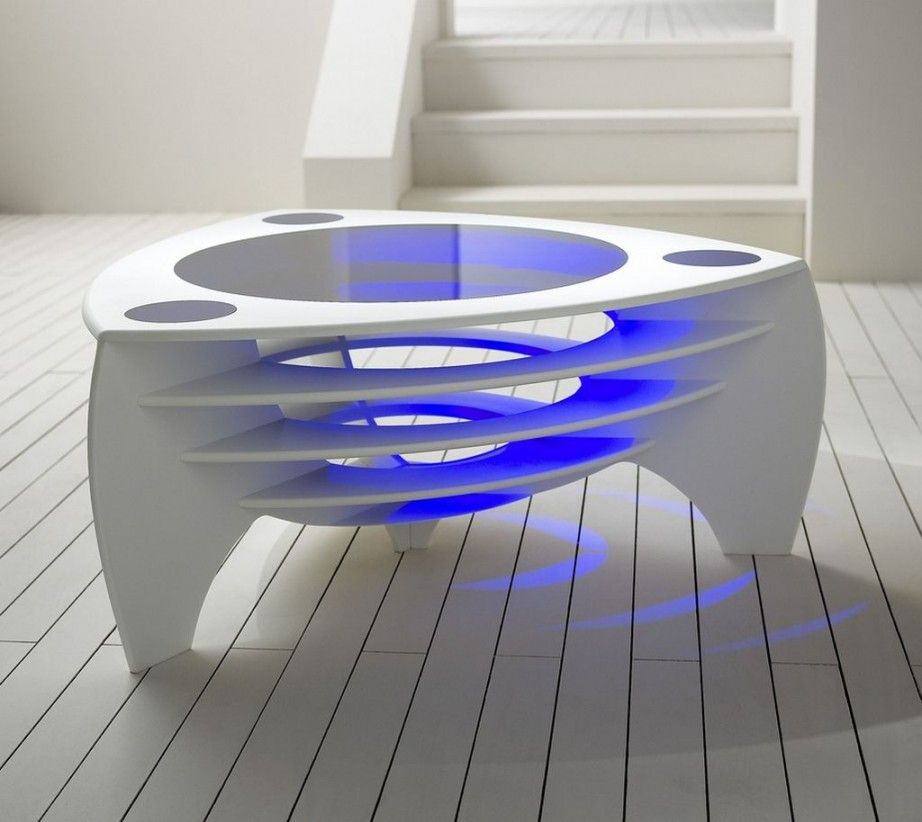 Extremely Futuristic Cool Bar Table Designs With Made By Solid White  Plastic Also And Round Hollow