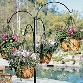 Freestanding Hanging Basket Stand Outdoor Patio Hanging Baskets