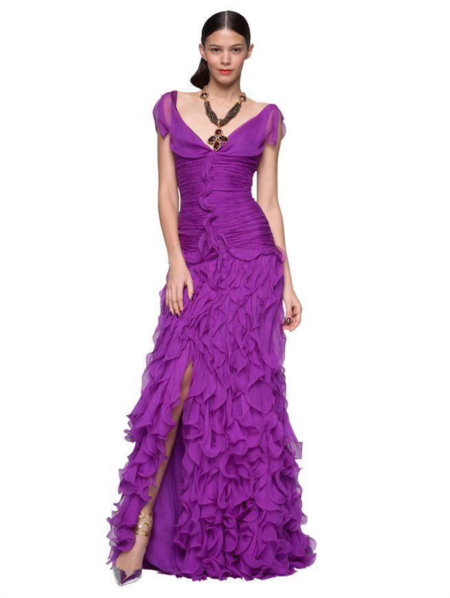 CHIFFON RUFFLE FRONT GOWN - Oscar de la Renta Gowns - Designer ...