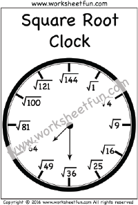 Square Root Clock   Worksheet  Squares  Square Roots