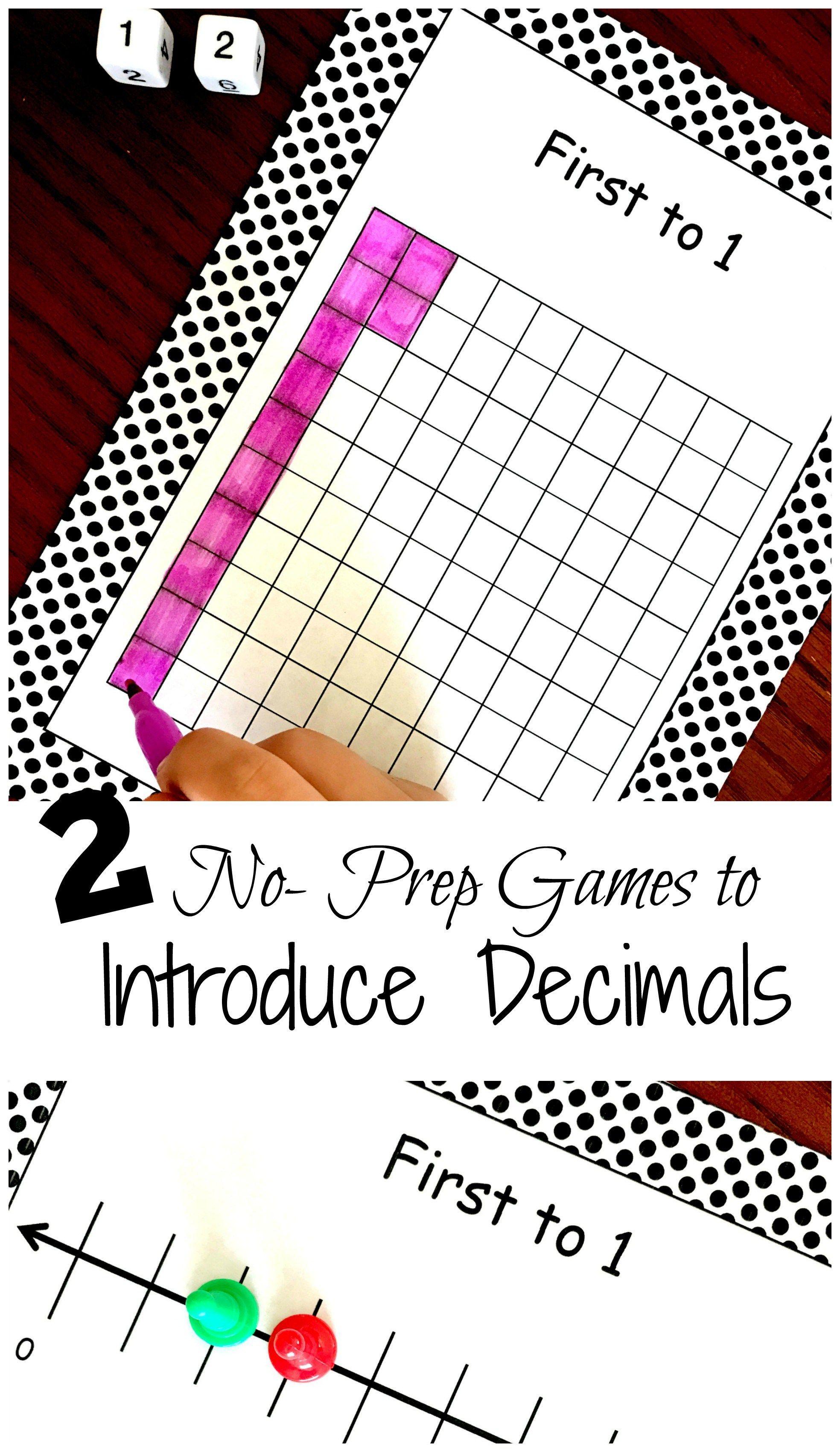 2 No Prep Printable Decimal Games To Introduce Modeling