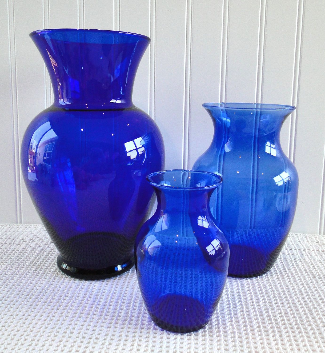 Cobalt blue vases the shorter two are perfect for our